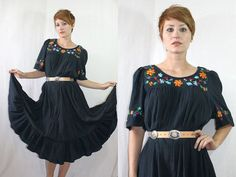 Vintage 70's Mexican Floral CAFTAN DRESS Summer Beach Tent Dress / One Size / $40.00