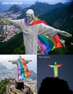 I came to the same conclusion as Hannah it seems! :transforming Rio De Jeneiro's Christ the Redeemer statue by adding a bit of pride. As someone who grew up in a christian household it is really inspiring to see christians accepting LGBTQ... people. It would be tough to get permission to install something like this but it would be very impactful. Christ The Redeemer Statue, Guerrilla, Christians, Growing Up, Rio, Household, People, Movie Posters, Inspiration