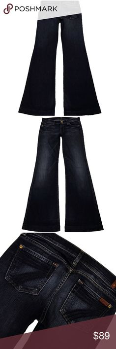 """7 For All Mankind Dojo 26X34 (#529) A Nice Pair Of 7 For All Mankind """"Dojo"""" Women's SZ 26 Flare Leg Dark Blue Wash With Blue Stitched 7 Low-Rise Stretch Jeans. Long Inseam 34"""" Style# U115202S-202S Cut# 711854 Measurements: Waist: 27"""" Hips: 37"""" Front rise: 7.5"""" Back rise: 12.5"""" Inseam: 34"""" 7 For All Mankind Jeans Flare & Wide Leg"""