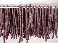 A South African dried sausage. Dried Sausage Recipe, Homemade Sausage Recipes, Venison Recipes, Meat Recipes, South African Dishes, West African Food, South African Recipes, Africa Recipes, Meat Stick Recipe