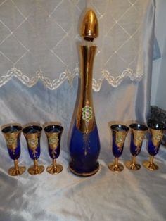 Vintage Bohemian Czech Decanter Stemware Set Cobalt Blue Gold Enameled Flowers
