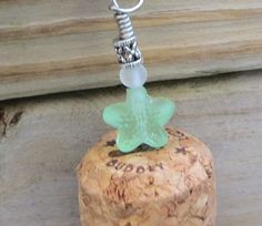Champagne Cork Key Chain Sea Glass Beads Zipper Bling