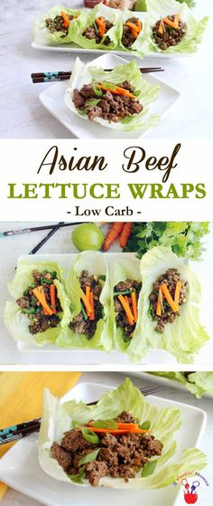 Asian Beef Lettuce Wraps are a quick & easy low ca…