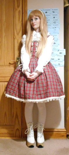 """evilgothbunny: """"Here is my old-school lolita inspired outfit for International Lolita Day. The blouse and rhs are from Bodyline, and the jsk is handmade. I really would like to be able to wear a..."""