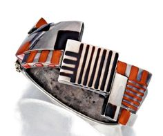 An Art Deco silver and lacquer bracelet-bangle by Jean Dunand, France circa 1924.