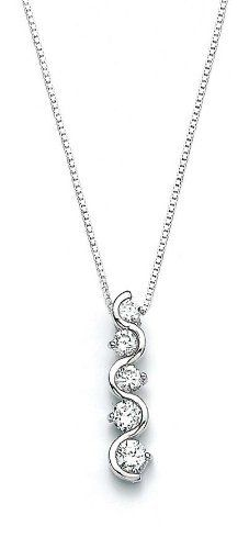 Sterling Silver CZ Journey Wave Pendant - JewelryWeb JewelryWeb. $63.70