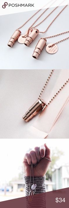 "Rose Gold Bullet Necklace This beautiful necklace provides 7 meals to children in need. Ethical fashion that feeds!  Originally designed recycled bullet casing. Symbol that can be seen as negative and transformed into an item for good.   Rose Gold plated bullet pendant. CA Handcrafted.  30"" rose gold ball chain. Rose gold plated charm: ""HALF UNITED FIGHTING HUNGER"".  No trades. Ships daily Mon to Fri. ""Add to Bundle"" items or ask me to bundle to save! Xo Half United Jewelry Necklaces"
