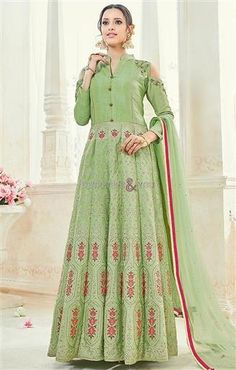 Dashing Green Thread Worked Long Anarkali Gown Set With Churidar  #DesignersAndYou #Anarkali #Gown #Set #Churidar #AnarkaliDress