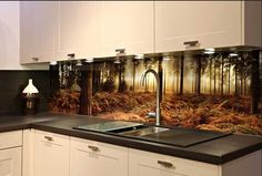 Fototapete küchenrückwand  Ansicht-innovation-fototapete-küchenrückwand-mit-waldbild-für ...