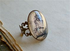 Pirate Ship Ring - The High Seas Antique Nautical Print Ring in Fancy Brass - Pirate Jewelry. $12.00, via Etsy.