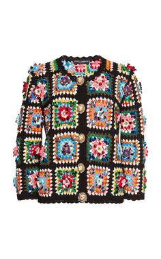 Dolce & Gabbana's hand-woven jacket is crafted with a granny square pattern, boxy silhouette and lion-inspired button details. Crochet Granny, Hand Crochet, Hand Knitting, Knit Crochet, Crochet Jacket, Knit Skirt, Knit Jacket, Square Patterns, Knitting Patterns
