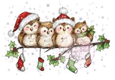 Wild Rose Studio - Owls on Branch - bjl