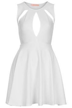 Textured Key Hole Front Skater Dress by Oh My Love