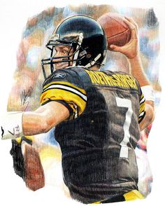 Ben Roethlisberger, color pencil art by Matthew Glover Football Art, Football Photos, Football Season, Steelers Pics, Pittsburgh Steelers, Steelers Stuff, Sports Art, Sports Decor, Super Bowl Xl