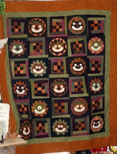 Cats and Jacks Wool Applique Quilt - Primitive Quilts Fall 2014 Magazine by The Little Red Hen