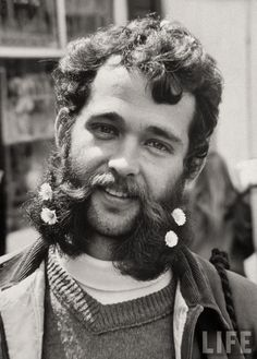 Bearded and mustached Hippie at anti-war demonstration in Golden Gate Park, San Francisco, by Ralph Crane, 1967 Pictures Of The Week, Life Pictures, Salvador Dali, Photomontage, Woodstock, Beatles, Vietnam Protests, Vietnam War, Flower Beard