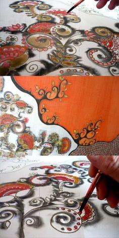 Handpainted silk scarf Black Orange scarf Floral by FilkinaScarves