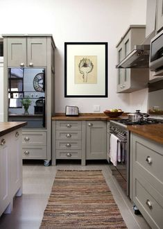 Swedish Style freestanding kitchen by Milestone Kitchens. The colour of the Island is Dulux Dusted Moss 2 and the colour of all the other units is Dulux Dusted Moss Kitchen Redo, Home Decor Kitchen, Country Kitchen, New Kitchen, Home Kitchens, Kitchen Remodel, Kitchen Dining, Kitchen Ideas, Kitchen Planning
