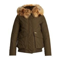 Woolrich John Rich & Bros. Military fur-trimmed down bomber jacket ($971) ❤ liked on Polyvore featuring outerwear, jackets, khaki, military flight jacket, military field jacket, brown jacket, military bomber jacket and brown bomber jacket