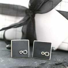 Personalised Silver Black Infinity Cufflinks - wedding jewellery