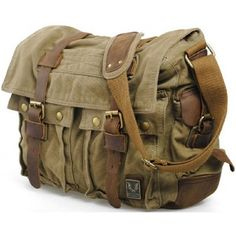 Men's Military Canvas Leather Satchel School Laptop Shoulder Messenger Bag Features Condition: New Material: Canvas with Leather Colour: Green,Army Green,Army Grey,Tan Dimensions: x x x x CM. Leather Camera Bag, Leather Satchel, Men's Leather, Real Leather, Bags Online Shopping, Online Bags, Mode Vintage, Vintage Men, Vintage Leather Bags
