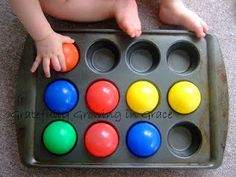 Great for babies and toddlers for fine motor skill building, but also can later be adapted to learn color recognition and making patterns. This is the kind of thing I was talking about @L a Farme / Anne Dreger