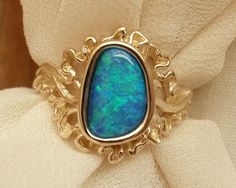 Boulder Opal Ring Green Blue 14k Yellow Gold by cutterstone, $814.00
