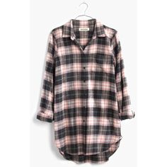 MADEWELL Rivet & Thread Flannel Slim Tunic Shirt in Mallory Plaid ($90) ❤ liked on Polyvore featuring tops, shirts, mallory plaid, red top, red button up shirt, slim fit shirt, red plaid shirt and shirts & tops