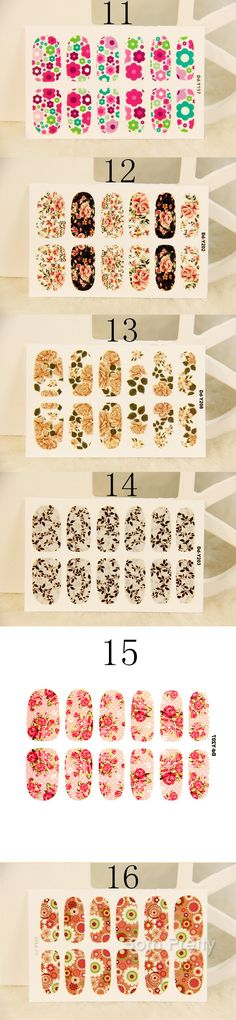 $3.13 1 Sheet Nail Wraps Fancy Blooming Rose Flowers Patterned Full Nail Sticker - BornPrettyStore.com