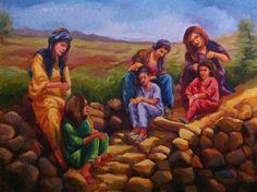 A very peacefully looking Artwork by Kurdish Painter Rebwar Rwanin. Art Women, Kurdistan, Female Art, Artwork, Painting, Woman Art, Work Of Art, Painting Art, Paintings