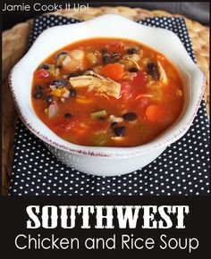 Southwest Chicken and Rice Soup ~ Jamie Cooks It Up! Casserole Recipes, Soup Recipes, Dinner Recipes, Chicken Lentil Soup, Baked Rice, Southwest Chicken, Crock Pot Soup, Healthy Soups, Healthy Recipes