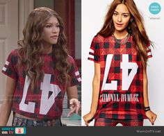 KC's red checked upside down 47 top on KC Undercover.  Outfit Details: http://wornontv.net/49430/ #KCUndercover (altered)