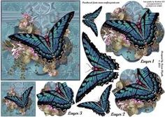 Page 3 of Animals Butterflies and Critters / Pyramids / Card Making Butterfly Shape, Vintage Butterfly, Pink Butterfly, Butterfly Design, Butterfly Wings, Birthday Verses For Cards, 3d Pattern, Patterns, 3d Sheets