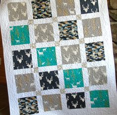 Baby Boy Quilt Woodland Deer Buck Navy Teal by CarleneWestberg