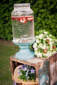 vintage drink dispenser for rustic lace wedding