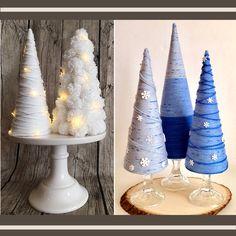 How to Make Winter Yarn Trees Cone Christmas Trees, Christmas Tree Crafts, Rustic Christmas, Christmas Projects, Holiday Crafts, Christmas Holidays, Cone Trees, Christmas Mantles, Christmas Villages