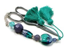 Light Teal Periwinkle Beaded Scissor Fob DIY Crafts by TJBdesigns, $18.00