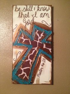 OH. MY. GOODNESS. I love this! Be Still & Know That I Am God Turquoise Giraffe by ClassyCanvas, $38.00