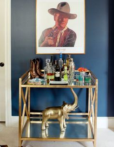 Love how they added an elephant to the bottom of this #bar cart! mirrors for shelf, i have some huge bathroom mirrors lowes can cut down.