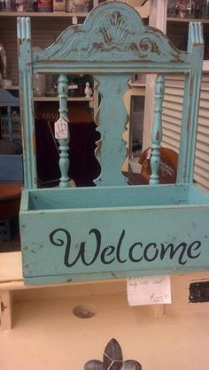 Repurposed chair back...cute!