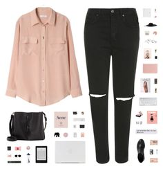 """PINK LADY"" by c-hristinep ❤ liked on Polyvore featuring Equipment, Topshop, ESPRIT, Tom Dixon, Coast, Polaroid, Korres, Maison Margiela, PLANT and Prada"