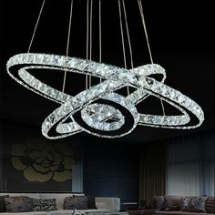 Lights & Lighting Steady Free Shipping Hot Sale Diamond Ring Led Crystal Chandelier Light Modern Led Lighting Circles Lamp Dia80*60*40cm 110v-220v With The Most Up-To-Date Equipment And Techniques