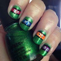 TMNT nails #smallbudgetbeauty #bblogger #green #nailart  #beautyapp - bellashoot.com
