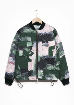 & Other Stories | Woodland Print Quilted Bomber Jacket