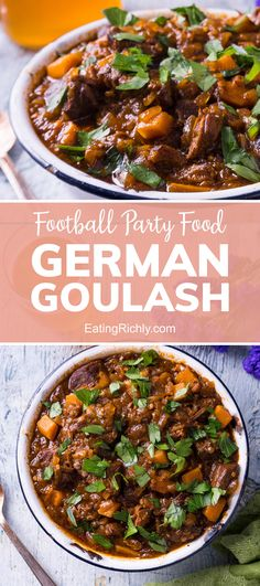 German goulash is a unique soup with chunky beef & layers of flavor. With the Instant Pot it's ready in less than half the time. Perfect for your Super Bowl party food! #instantpot #instantpotrecipes #goulash #goulashrecipes #soups #souprecipes #stews #stewrecipes #beefstew #dinnerrecipes #healthyrecipes #lowcarbrecipes #healthydinners #steakrecipes #beefrecipes #ketofood #seahawks #footballfood #footballparty #tailgating #superbowlfood #superbowlsnacks #gameday #gamedayfood…