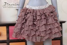Finally found JUST skirt for my SD/F60 girls, that are fun. Will look great with new corsets.  Beige ruffle skirt -for 1/3 sd bjd & dollfie dream