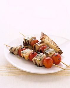 Fast grilling swordfish and salmon chunks skewered with cherry tomatoes makes this an easy seafood dinner recipe for summertime gatherings. Kebab Recipes, Shellfish Recipes, Grilling Recipes, Seafood Recipes, Cooking Recipes, Healthy Recipes, Seafood Meals, Tilapia Recipes, Smoker Recipes