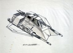 TESB: Early Ralph McQuarrie sketch for a ONE-man snowspeeder (with no radar operator in the back). It was a bit too boxy from the front view, so Joe Johnston gave it more wing in the final design.