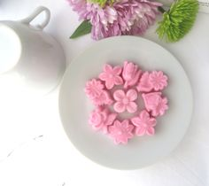 33 Ready to Ship Pretty Pink Assorted Flower Shaped Molded Sugar Cubes Tea Mother's Day Garden Parties, Showers, Graduation, Embellishments by WishingwellArt on Etsy