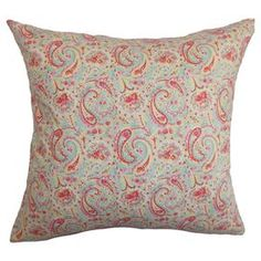 "Cotton throw pillow with a paisley motif.   Product: PillowConstruction Material: Cotton cover and 95/5 down fillColor: Multi Features:  Insert includedHidden zipper closureMade in the USA Dimensions: 18"" x 18""Cleaning and Care: Spot clean"